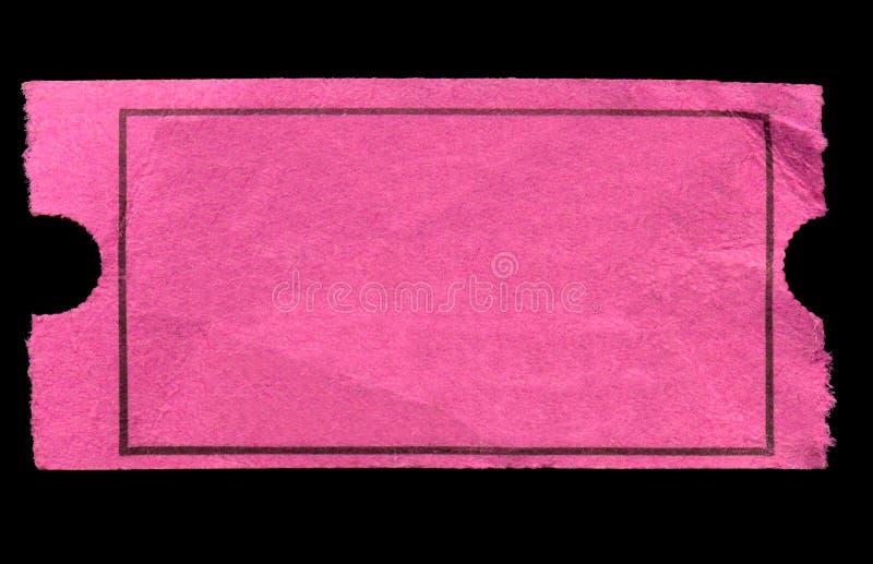 Boleto rosado en blanco de la admisión. imagen de archivo
