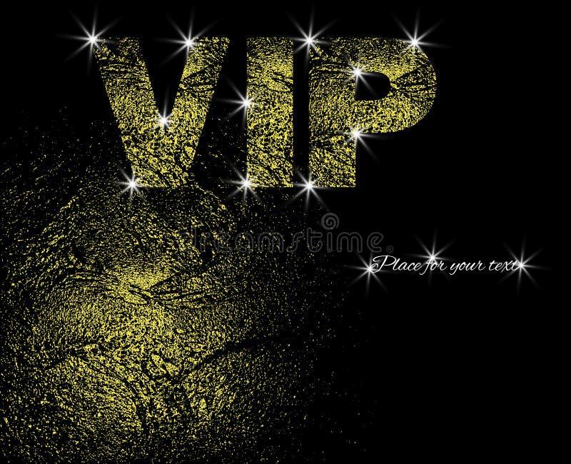 Boleto superior Tarjeta de la invitación con oro texturizado y letras del VIP Lugar para el texto Ilustración del vector libre illustration