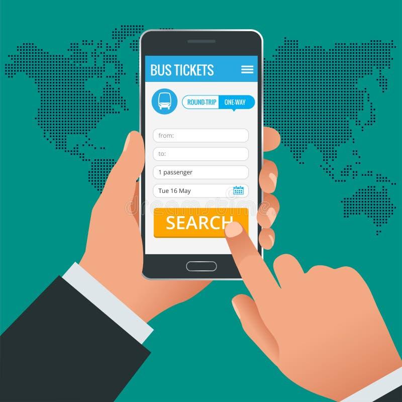 Boletos de autobús que reservan concepto en línea del teléfono del app Reserve su boleto en línea e ingriese la cantidad en donde stock de ilustración