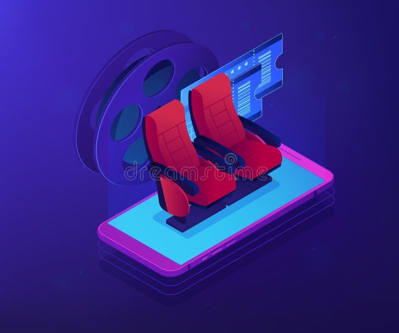 Boletos de compra ejemplo isométrico en línea del concepto 3D stock de ilustración