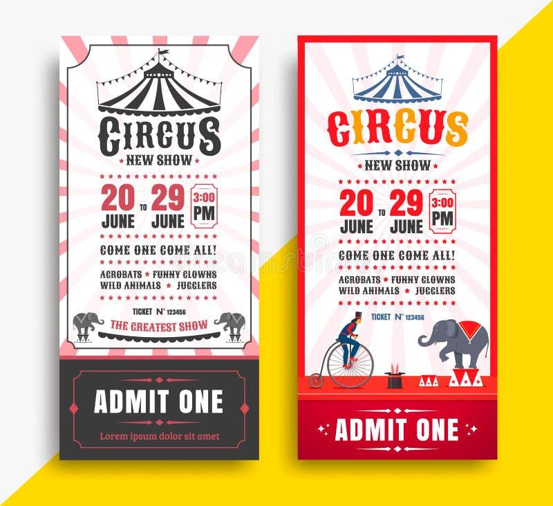 Boletos de la demostración del circo stock de ilustración