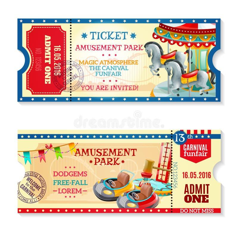 Boletos de la invitación al carnaval en parque de atracciones ilustración del vector