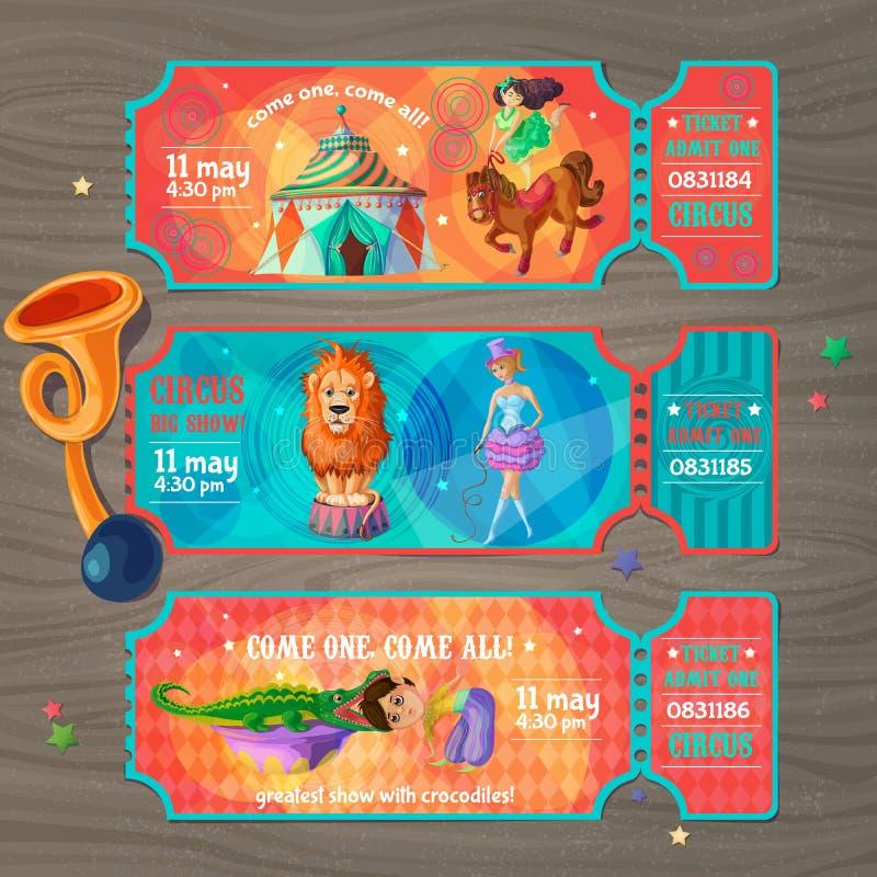 Boletos de la invitación de la demostración del circo de la historieta fijados stock de ilustración
