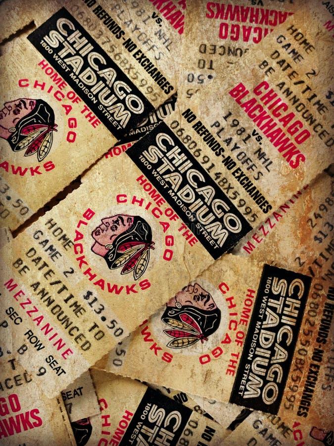 Boletos de los Chicago Blackhawks del vintage fotografía de archivo