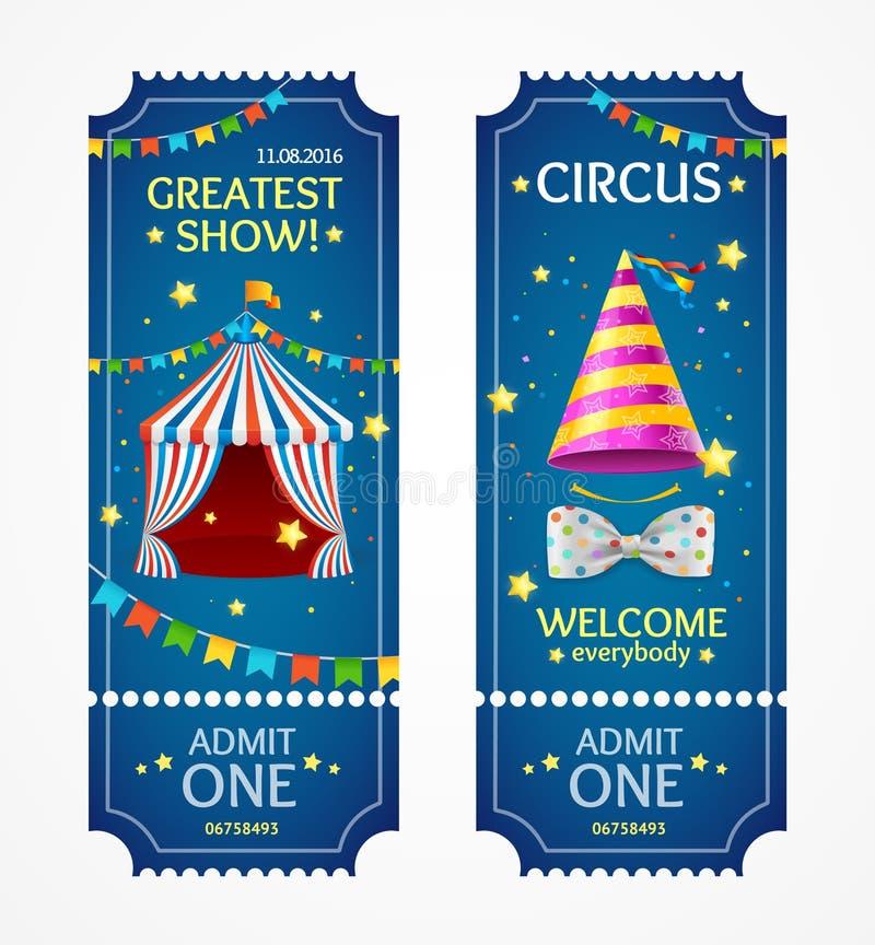 Boletos del circo fijados Vector stock de ilustración