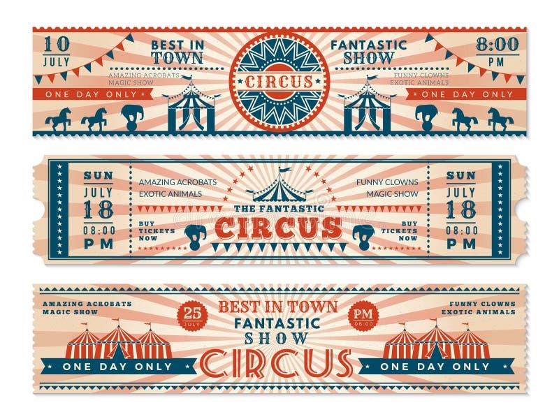 Boletos del circo Invitación horizontal de las banderas para las banderas retras del vector de la web del carnaval de la demostra stock de ilustración