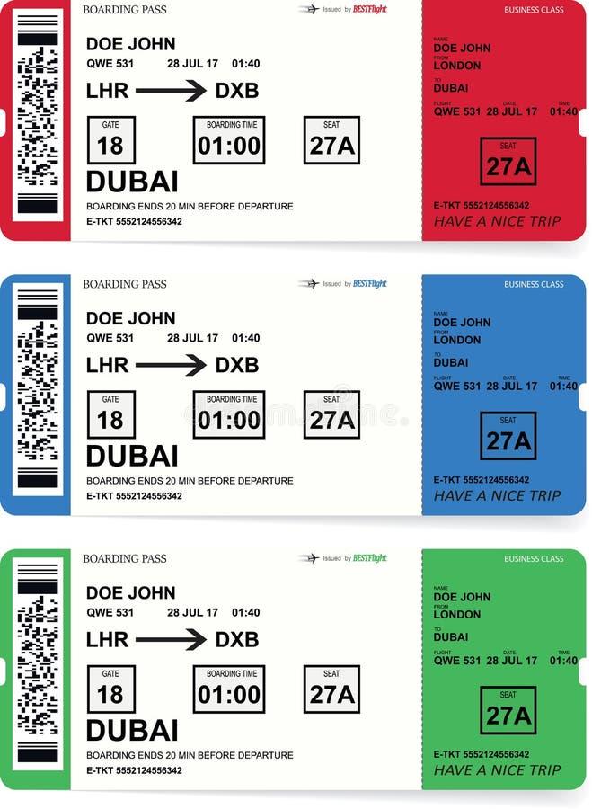 Boletos del documento de embarque de la línea aérea fijados con la sombra libre illustration