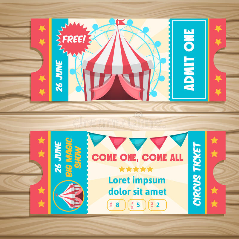 Boletos del evento del circo libre illustration