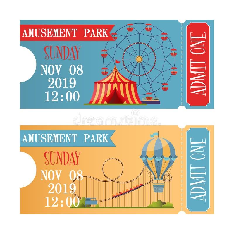 Boletos del parque de atracciones en estilo plano del diseño libre illustration