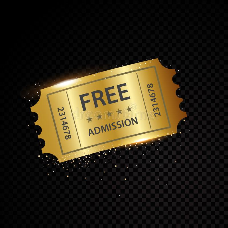 Boletos del vector y plantillas de oro de las cupones libre illustration