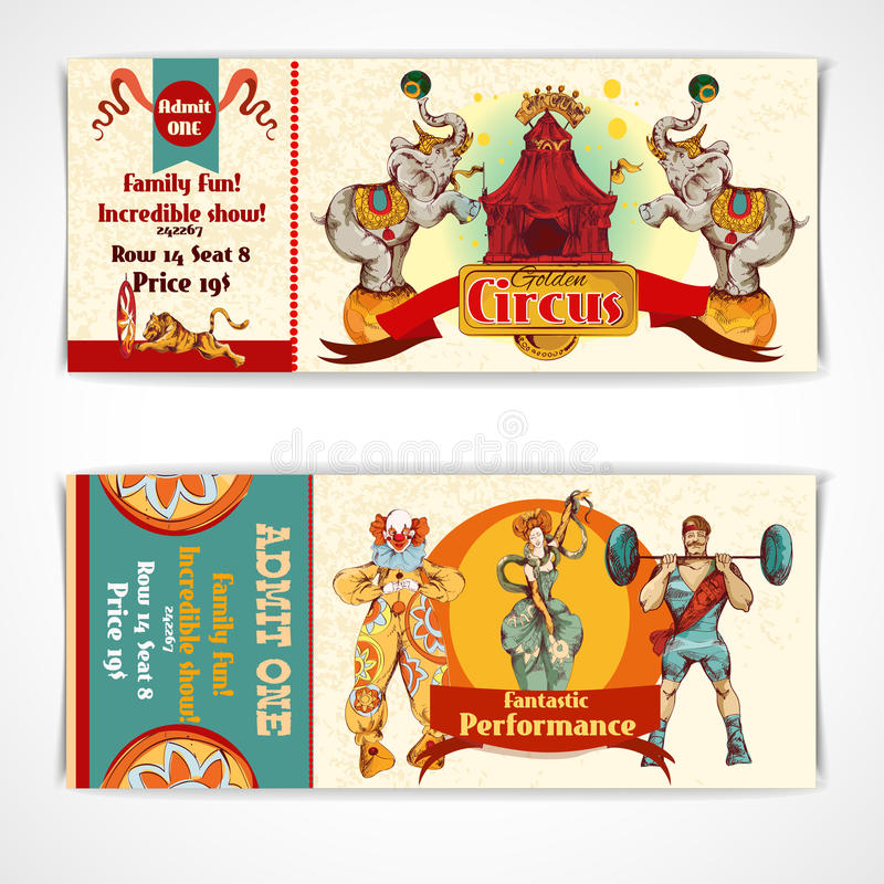 Boletos del vintage del circo fijados ilustración del vector