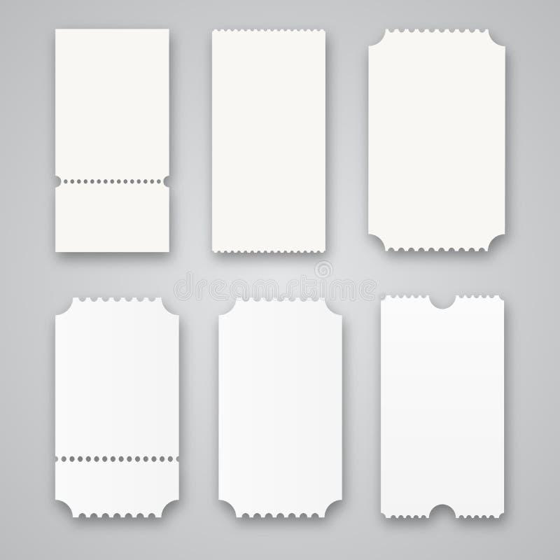 Boletos en blanco aislados en fondo gris Ilustración del vector libre illustration