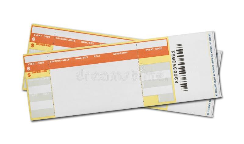 Boletos en blanco del concierto imagenes de archivo