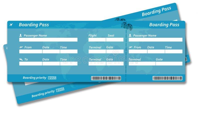 Boletos en blanco del documento de embarque de la línea aérea stock de ilustración