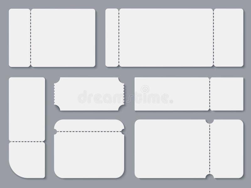 Boletos en blanco Maqueta blanca del boleto del teatro y del cine Cupón de la lotería y plantilla aislada vector del recibo ilustración del vector