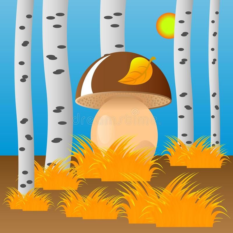 Download Boletus Mushroom In The Autumn Forest. Stock Vector - Image: 83710948