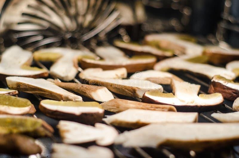 Drying Boletus mushrooms stock photos