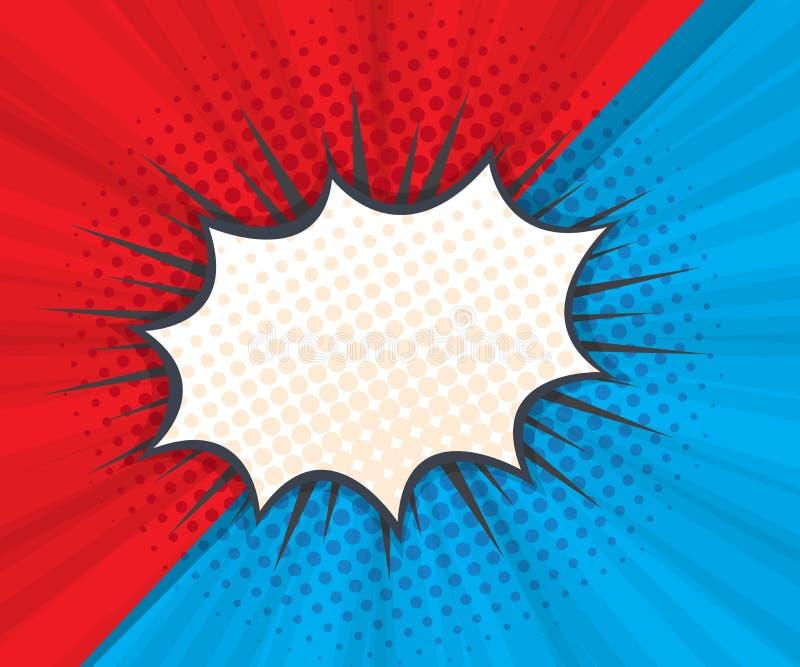 Bolha abstrata do discurso com fundo vermelho e azul ilustração do vetor