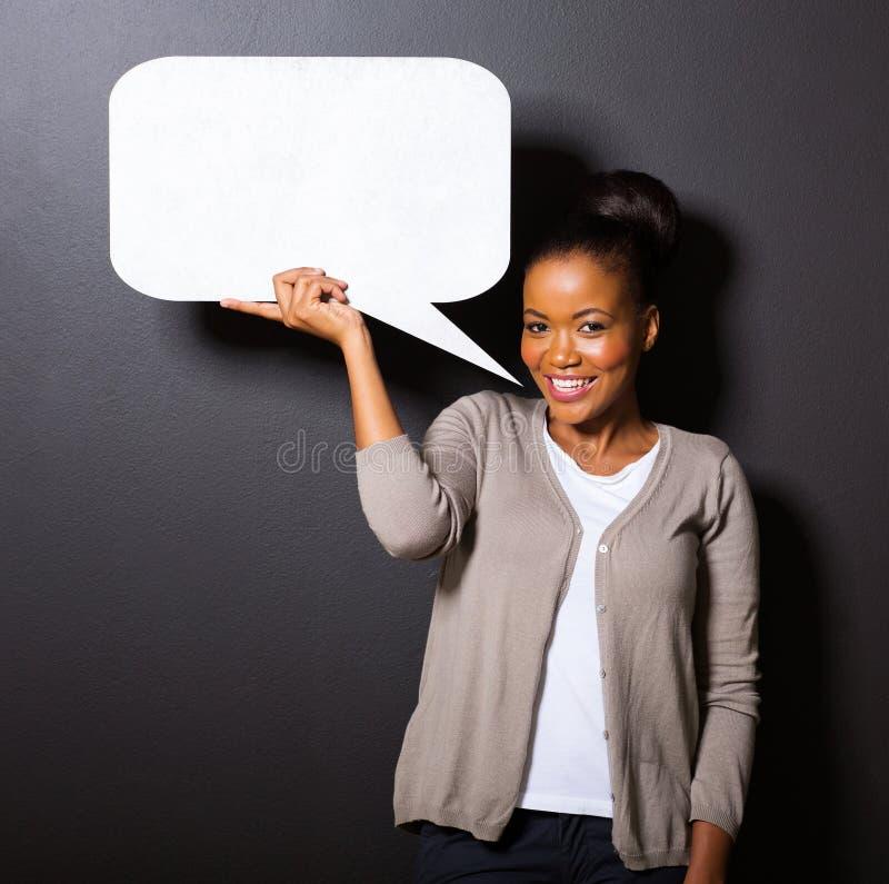 Bolha africana do discurso da mulher foto de stock