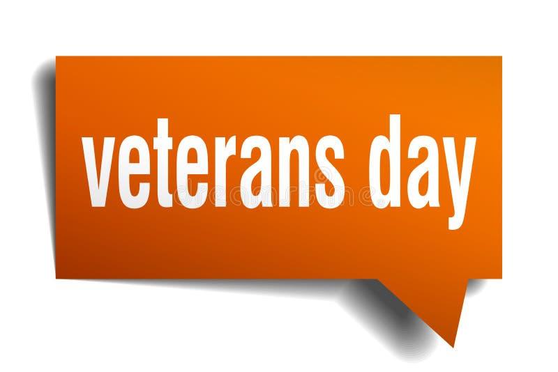 Bolha alaranjada do discurso 3d do dia de veteranos ilustração royalty free