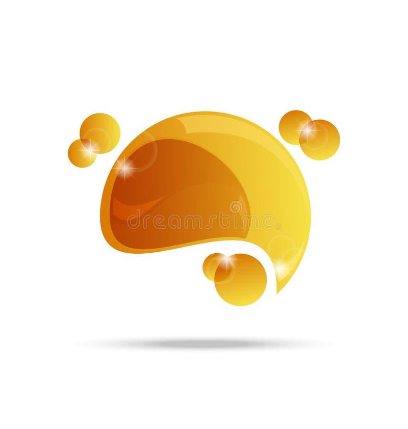 Bolha amarela abstrata do discurso isolada ilustração stock