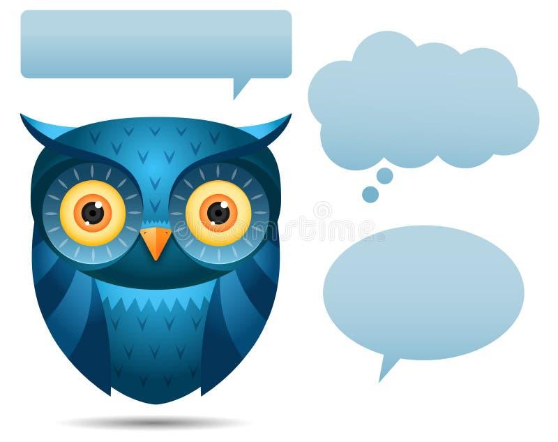 Bolha azul da coruja e da conversa ilustração royalty free