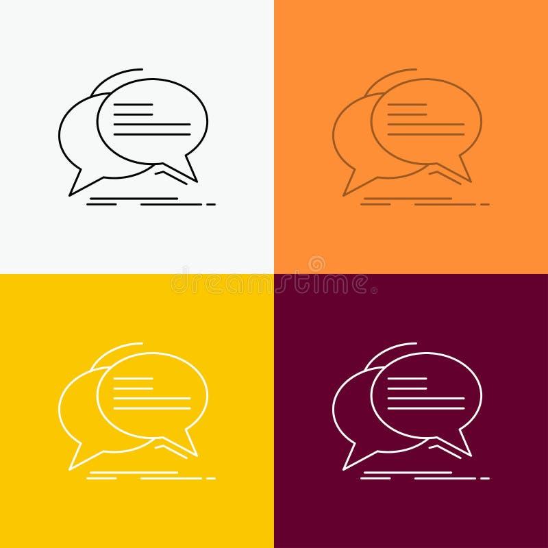 Bolha, bate-papo, uma comunicação, discurso, ícone da conversa sobre o vário fundo Linha projeto do estilo, projetado para a Web  ilustração stock