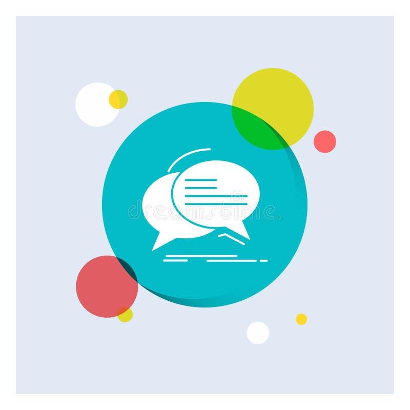 Bolha, bate-papo, uma comunicação, discurso, do ícone branco do Glyph da conversa fundo colorido do círculo ilustração do vetor
