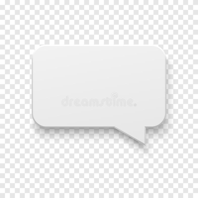 Bolha branca do discurso do papel vazio do vetor ilustração do vetor