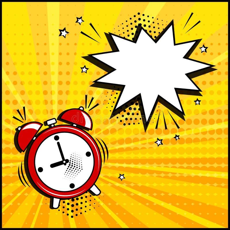 Bolha branca vazia do discurso e despertador vermelho no fundo amarelo Efeitos sadios c?micos no estilo do pop art Vetor ilustração royalty free