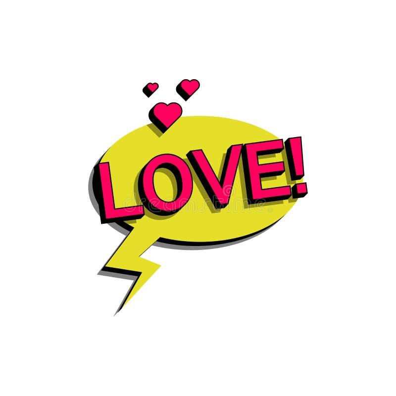 Bolha cômica do discurso com amor do texto da expressão Vector a ilustração dinâmica brilhante dos desenhos animados no estilo re ilustração do vetor