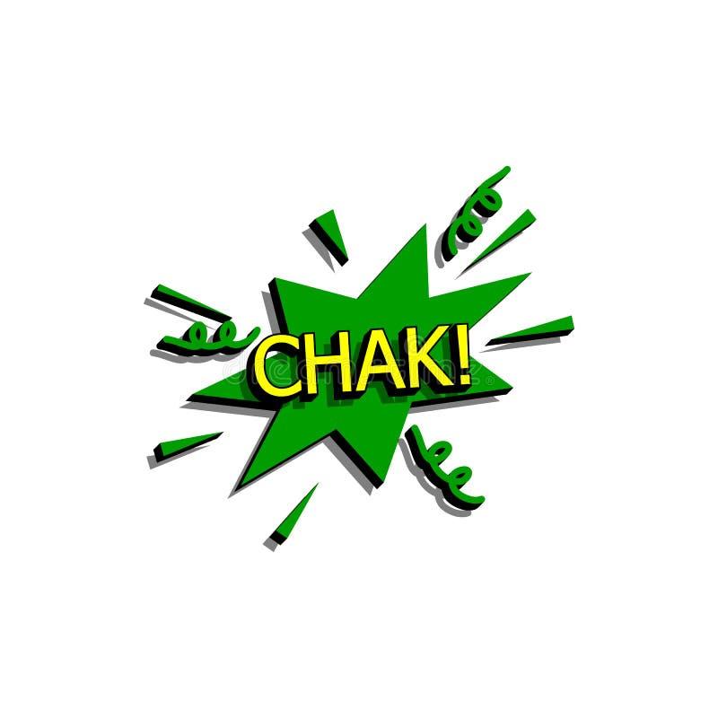 Bolha cômica do discurso com chak do texto da expressão Vector a ilustração dinâmica brilhante dos desenhos animados no estilo re ilustração stock