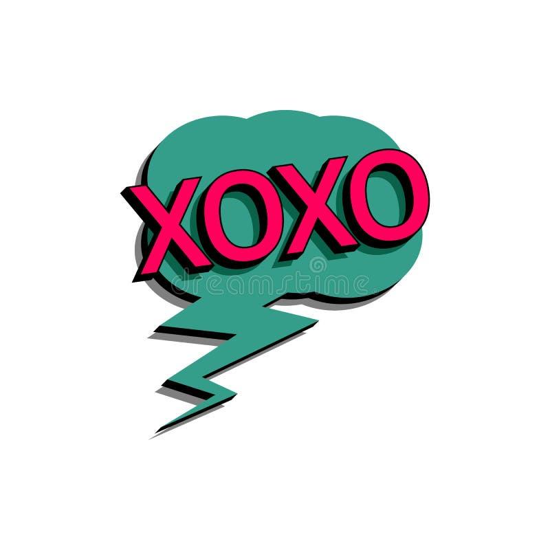 Bolha cômica do discurso com o xoxo do texto da expressão Vector a ilustração dinâmica brilhante dos desenhos animados no estilo  ilustração do vetor