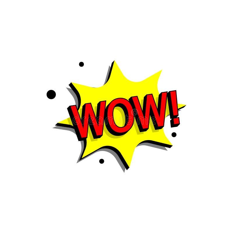 Bolha cômica do discurso com texto da expressão uau Vector a ilustração dinâmica brilhante dos desenhos animados no estilo retro  ilustração royalty free