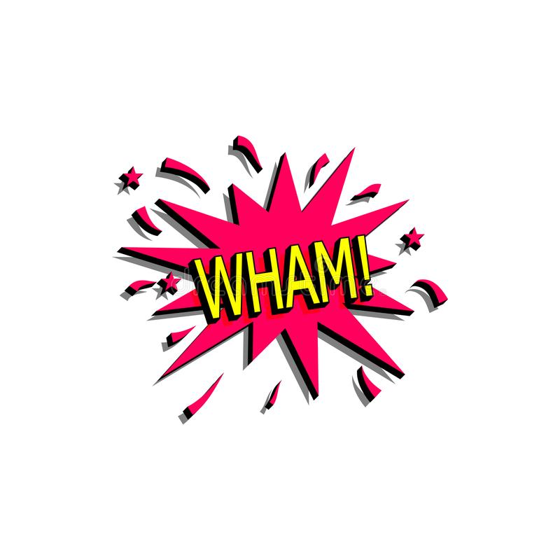A bolha cômica do discurso com texto da expressão wham Vector a ilustração dinâmica brilhante dos desenhos animados no estilo ret ilustração royalty free