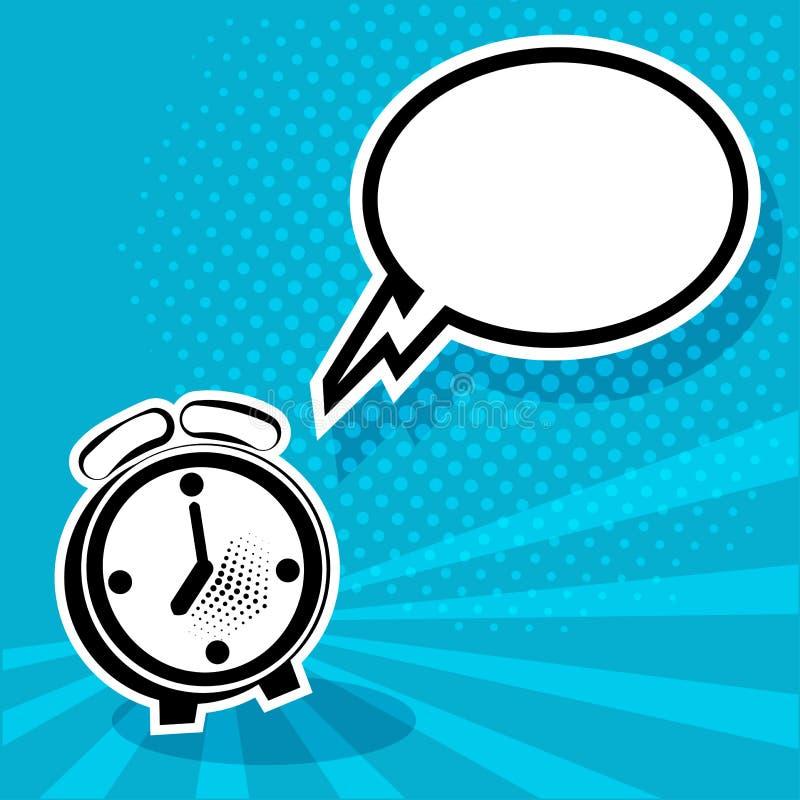 Bolha c?mica do despertador e do discurso vazio branco Ilustra??o do vetor no PNF Art Style ilustração stock