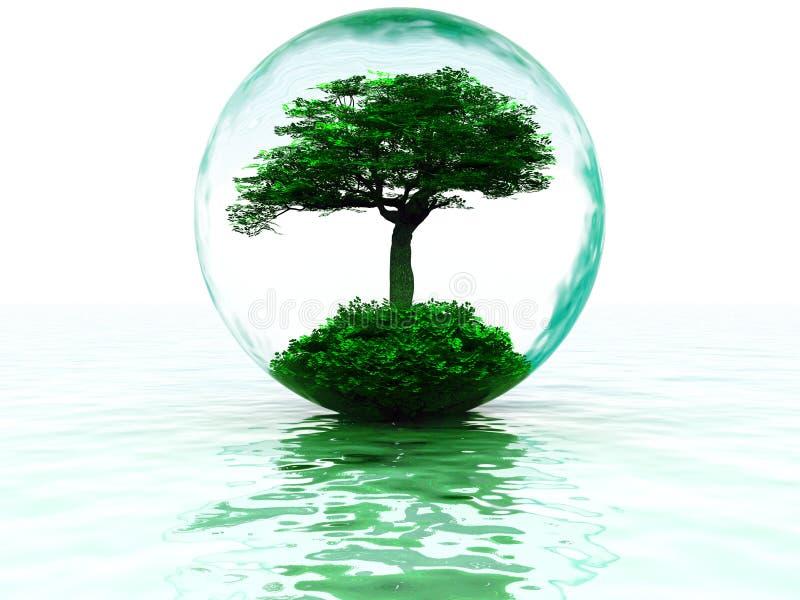 Bolha com árvore ilustração stock
