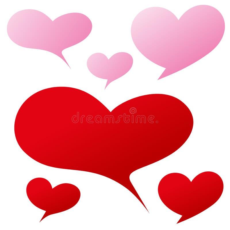 Bolha cor-de-rosa vermelha da forma do coração para a palavra escrita ou a expressão ilustração stock