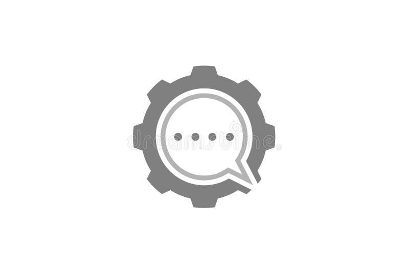 Bolha criativa Logo Design Illustration do bate-papo da engrenagem ilustração do vetor