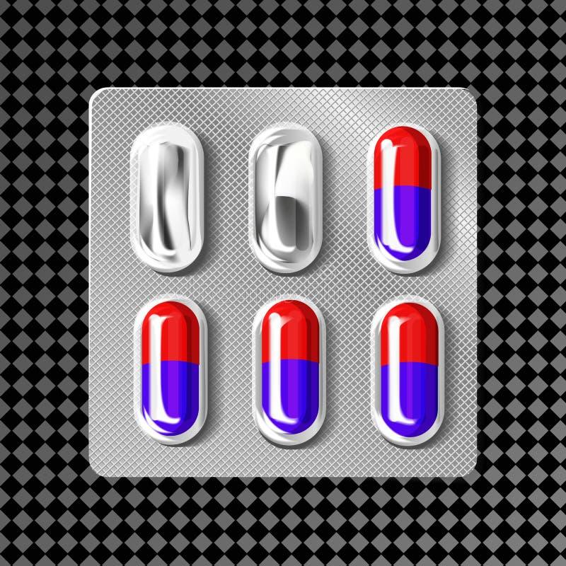 bolha 3d com cápsulas Tabuleta médica da droga para o tratamento da doença e da dor: analgésico, vitamina, antibiótico, aspirin ilustração stock