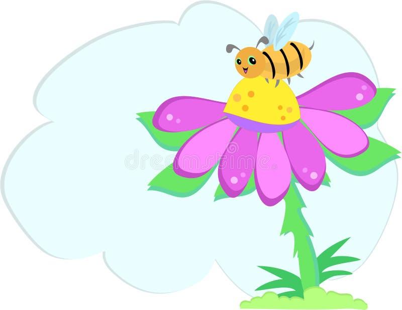 Bolha da mensagem com abelha e flor ilustração royalty free