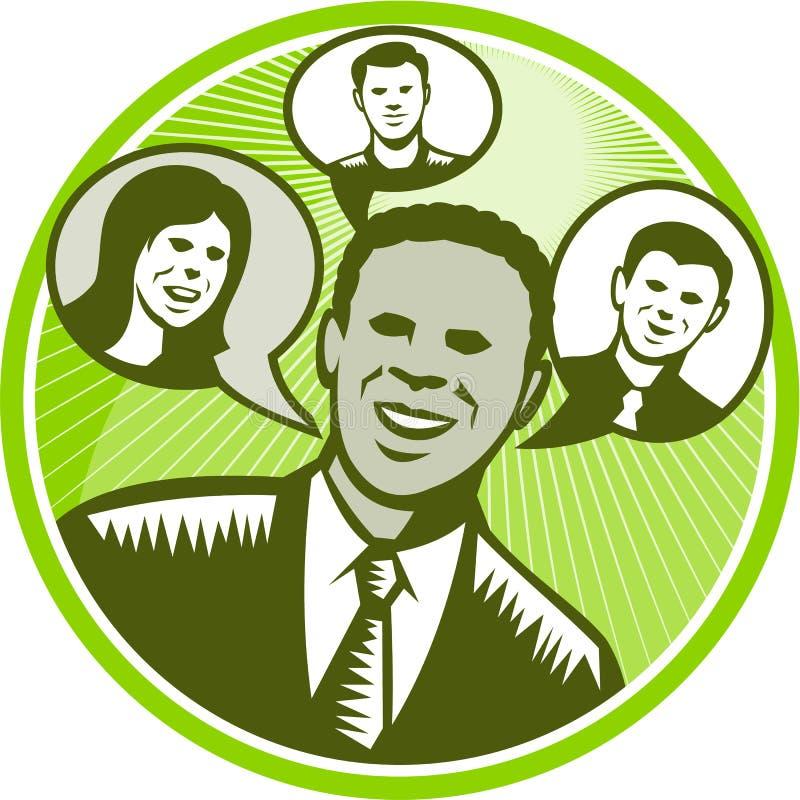 Bolha de People Smiling Speech do homem de negócios ilustração stock