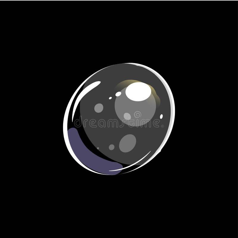 Bolha de sab?o brilhante isolada no fundo preto ilustração royalty free