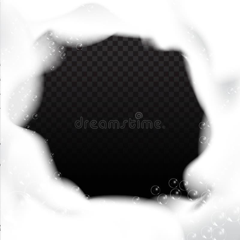 Bolha de sabão com reflexão arco-íris sobre fundo transparente Conjunto de bolhas de espuma, excelente design para qualquer propó ilustração do vetor
