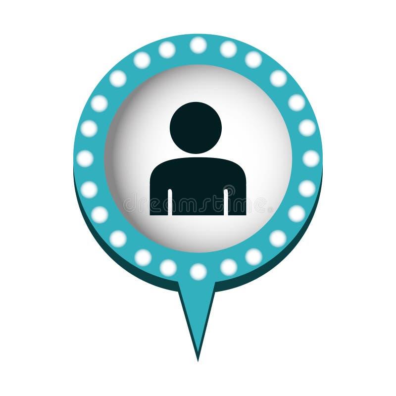 bolha do bate-papo com pessoa para dentro ilustração stock