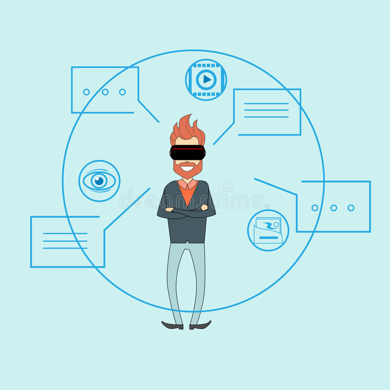 Bolha do bate-papo do diálogo do fundo do esboço dos vidros de Digitas da realidade virtual do homem ilustração royalty free