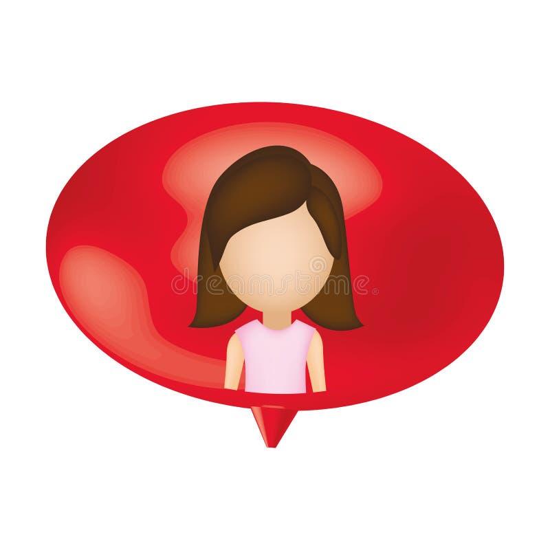 bolha do bate-papo do interior da pessoa da mulher ilustração stock