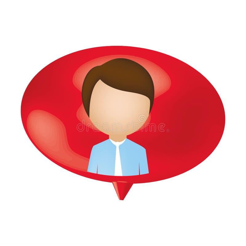 bolha do bate-papo do interior da pessoa do homem ilustração stock