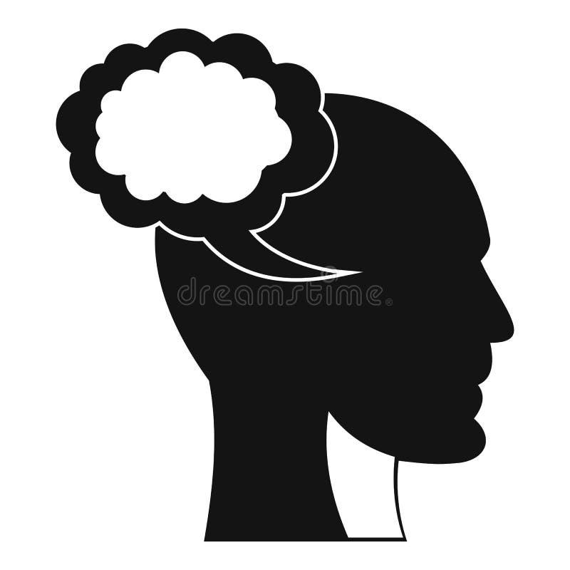 Bolha do discurso com ícone da cabeça humana, estilo simples ilustração royalty free