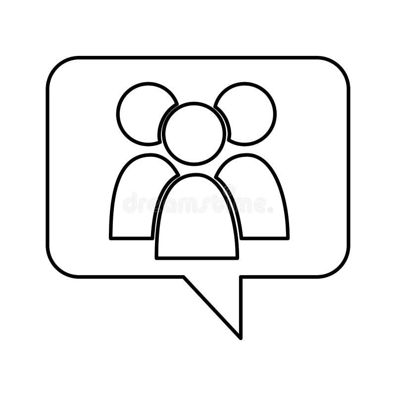 Bolha do discurso com ícone dos trabalhos de equipa ilustração royalty free